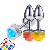 Анальная металлическая LED пробка (размер S)