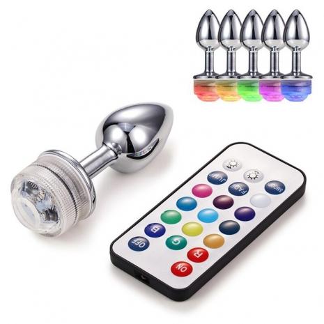 Анальная металлическая LED пробка (размер M)