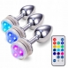 Анальная металлическая LED пробка (размер L)3