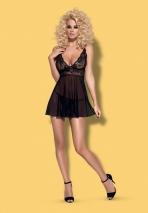 Черная сорочка с гипюровым верхом Idillia Babydoll XXL