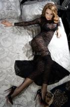 Комплект из гипюрового платья в пол, лифа и трусиков под кожу S