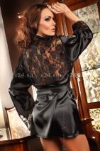 Черный халатик с кружевными вставками и стрингами Prilance Black SL