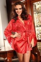 Красный халатик с кружевными вставками и стрингами Prilance Black XLXXL