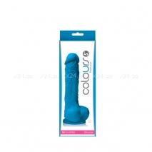 Силиконовый синий фаллос на присоске Colours Pleasures 5''