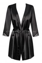 Черный атласный халатик с кружевом на рукавах Satina Robe XXL