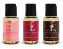 Подарочный набор съедобных массажных масел Dona (ваниль, шоколад, клубника по 30 мл)