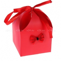 Деревянная анальная втулка с рыже-черным хвостиком в подарочной упаковке