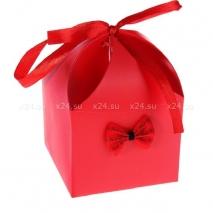 Деревянная анальная втулка с красно-черным хвостиком в подарочной упаковке