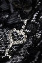 Трусики черные с сердечком из страз Joli Jamie, OneSize