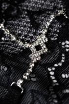 Трусики черные с нежным украшением из страз Joli Terri, OneSize
