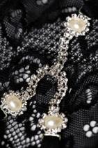 Трусики черные с жемчужинками и стразами Joli Aileen, OneSize