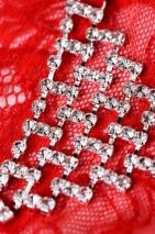Трусики красные с украшением из страз в виде треугольника Joli Chantal, OneSize