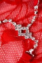 Трусики красные с нежным украшением из страз Joli Terri, OneSize