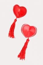 Пестис тканевые сердечки с кистями красные Erolanta