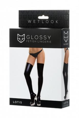 Черные эластичные чулочки Glossy L (имитация винила)