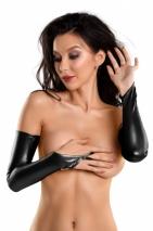 Черные эластичные перчатки-митенки выше локтя Glossy