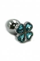 Маленькая пробочка с тупым кончиком с кристаллом в форме голубого четырехлистного клевера