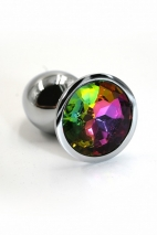 Небольшая серебряная пробка с радужным кристаллом Rainbow