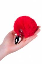 Серебряная малая пробочка с красным пушистым хвостиком
