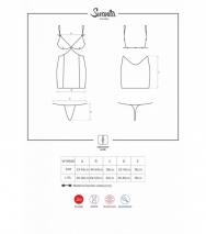 Коротенькая облегающая сорочка с кружевом и вырезами Swanita Chemise LXL