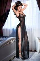 Длинное будуарное платье с разрезами на бедрах S