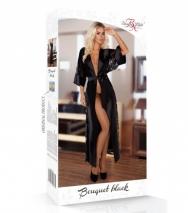 Длинный халатик с кружевом Bouquet Black LXL
