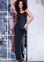 Длинное черное платье с открытой спиной и кружевной вставкой S