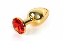 Небольшая золотая анальная пробочка с красным кристаллом