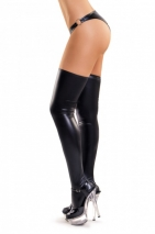 Черные эластичные чулочки Glossy XL (имитация винила)