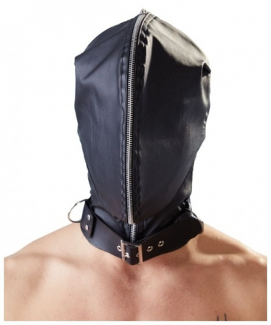 Маска-шлем с ошейником и молнией для полной сенсорной депривации Double Mask by fetish collection