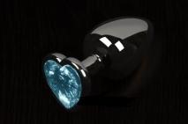 Небольшая графитовая пробочка с голубым кристаллом-сердечком