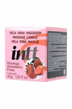 Массажная свеча для поцелуев INTT Strawberry с ароматом клубники (30 мл)