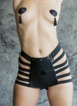 Черные трусики для страпона с фигурными лентами No Mercy Roughly S/M