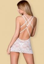 Белоснежная кружевная сорочка с косточками и украшением на спине SM