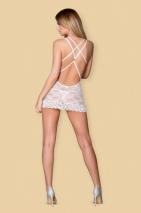 Белоснежная кружевная сорочка с косточками и украшением на спине LXL
