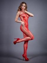 Красный сексуальный комбинезон с имитацией шнуровки SL
