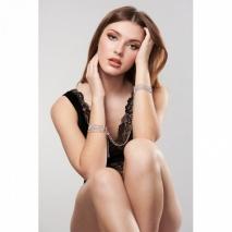 Серебристые браслеты-наручники со съемной цепочкой Bijoux Indiscrets Magnifique