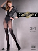Фантазийные черные колготки с имитацией чулок Demi 4 (40 den)