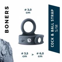 Регулируемое кольцо на член и мошонку Boners Cock & Ball Strap (S/M)