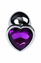 Малая серебристая втулка с кристаллом в виде сердца фиолетовго цвета Toyfa
