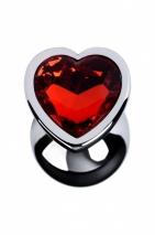 Малая серебристая втулка с алым кристаллом в виде сердца Toyfa
