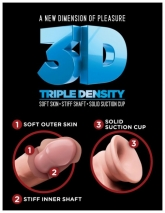 Супер гибкий реалистичный фаллос на присоске King Cock Plus 6'' Triple Density Cock