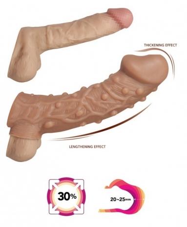 Стимулирующая насадка на пенис с пупырышками и отверстием для мошонки KOKOS L