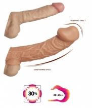 Насадка-реалистик с увеличенной головкой на фаллос и с отверстием для мошонки KOKOS L