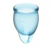 Набор менструальных чаш с хвостиком-петелькой Feel Сonfident Menstrual Cup Light Blue