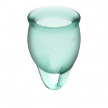 Набор менструальных чаш с хвостиком-петелькой Feel Сonfident Menstrual Cup Dark Green