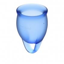 Набор менструальных чаш с хвостиком-петелькой Feel Сonfident Menstrual Cup Dark Blue