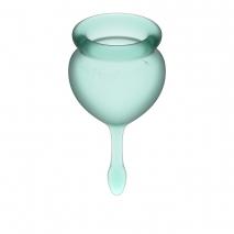 Набор менструальных чаш с хвостиком-капелькой Feel Good Menstrual Cup Dark Green