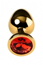 Средняя анальная втулка с красным кристаллом Metal by TOYFA