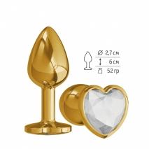 Небольшая золотая анальная втулка с прозрачным кристаллом в виде сердца Джага